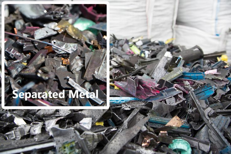 Metal separated from ink cartridges by a Drum #Magnet during #recycling