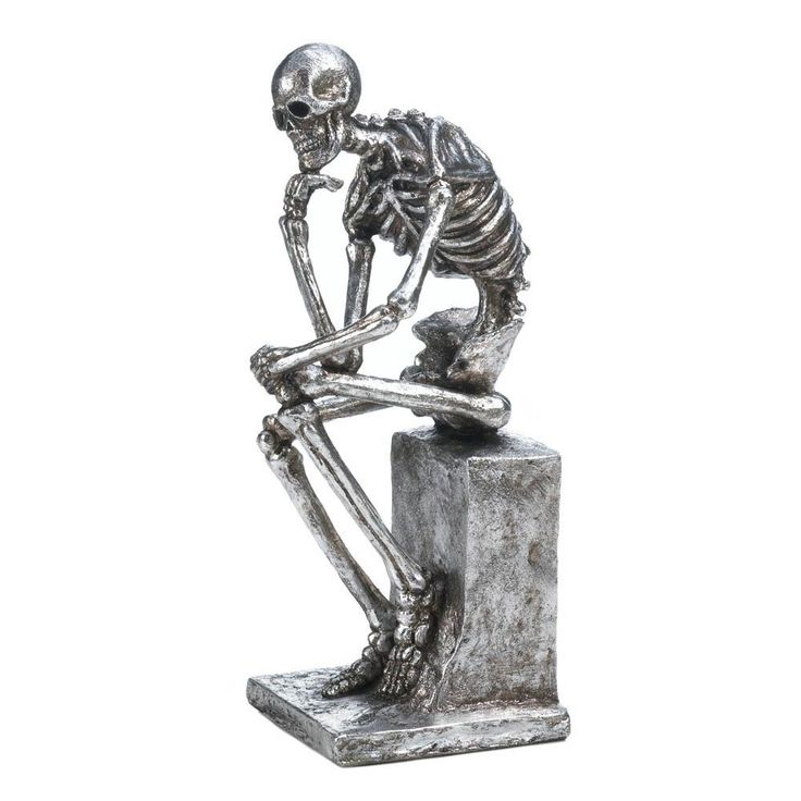 Silver Skeleton Statue Halloween Decor Party Prop Gothic Collectible The Thinker