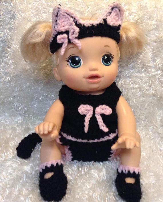 14 Inch Doll Clothes For Crawling Doll Black Cat Set Baby Doll Clothes Doll Clothes Diy Baby Stuff