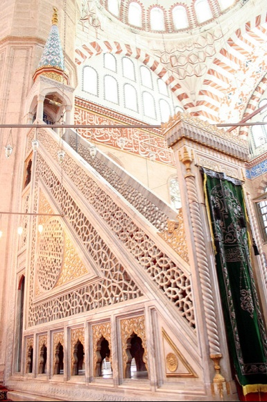 Selimiye Mosque, Edirne. Celebrated for the perfection of the marble carving, tiles and calligraphic interior decoration.