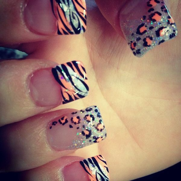 Orange sparkly silver gel nails  peach/sparkly/silver/gel/nails