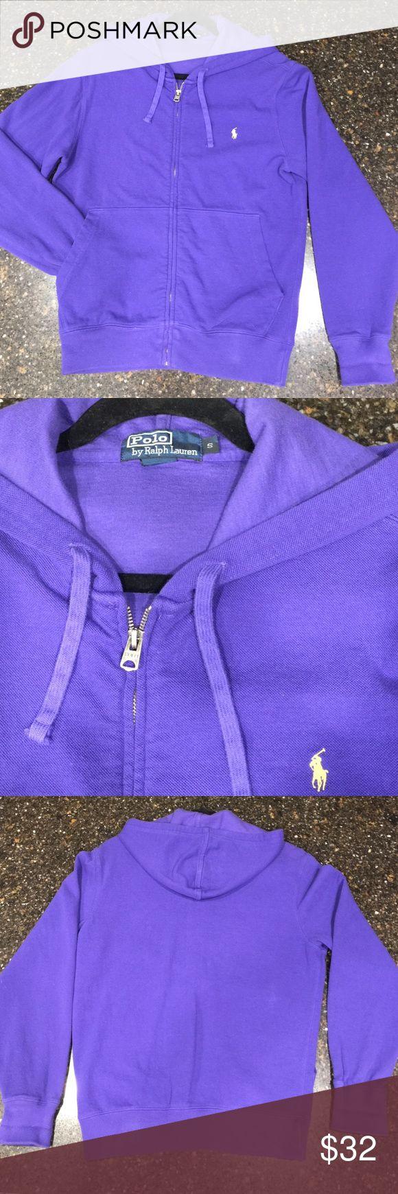Polo by Ralph Lauren Purple zip up hoodie. Size S Super Cute Purple zip up hoodie, no stain or snags. Zipper works fine. Measurements: armpit to armpit 21, sleeve length 25.5, length 25. Polo by Ralph Lauren Tops Sweatshirts & Hoodies
