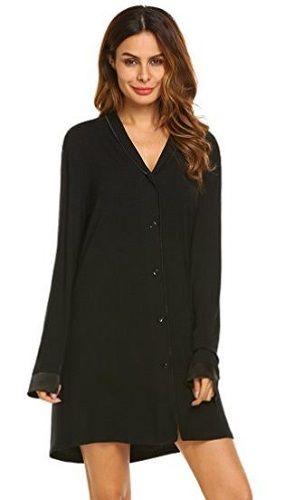 2aa2d29959d Ekouaer Sleepshirt Women s Nightgowns Long Sleeved. Ekouaer Sleepshirt Women s  Nightgowns Long Sleeved Boyfriend Style