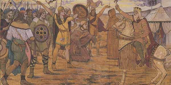 "Another ""official"" portrait of the big day: Brian Boru Blesses the Troops by James Ward."