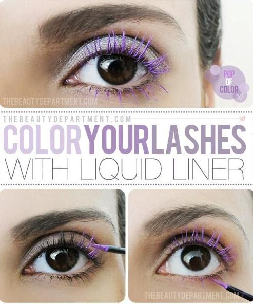 Easy way to color your eyelash with liquid liner.