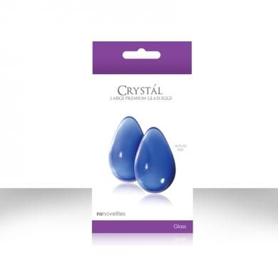 Crystal Premium Glass Large Eggs Blue. These artistic gems are made from 100% Borosilicate glass, and are designed to bring pleasure to PC muscle exercises. Once inserted, they will help strengthen the Kegel muscle, while providing rippling effects of stimulation. At a larger 2 inches long by 1.25 inches, these eggs are a delicious, yet discreet item. Crystal premium glass eggs include a silk storage bag.