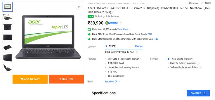 Buy Acer Aspire E5-572G UN.MV2SI.001 Laptop Online in India on Flipkart, Amazon. Current lowest offer price for E5-572G UN.MV2SI.001 : Rs 30,990.