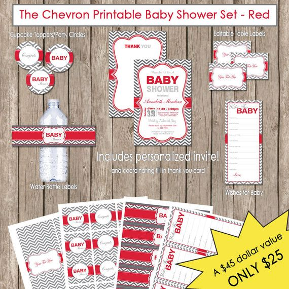 Neutral Baby Shower Red and Grey Chevron by ModernBeautiful