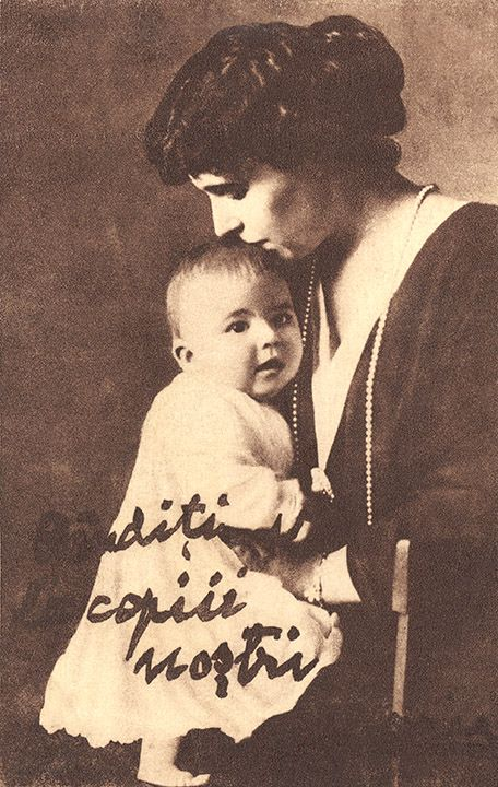 Queen Marie of Romania (nee Princess Marie of Edinburgh) with her youngest child, Prince Mircea.  Mircea, almost certainly fathered by Marie's lover Barbu Stirbey, died when he was 3 years old.