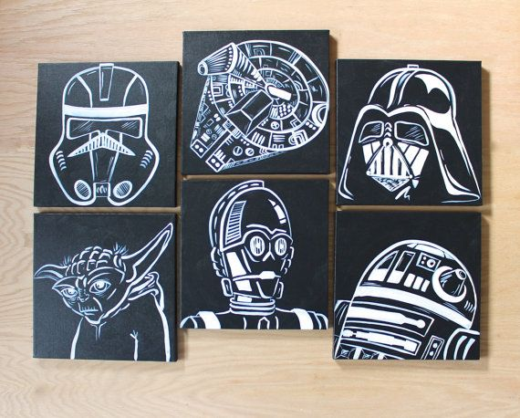 modern star wars art . 6 12x12 canvases . by sincerelyYOU on Etsy