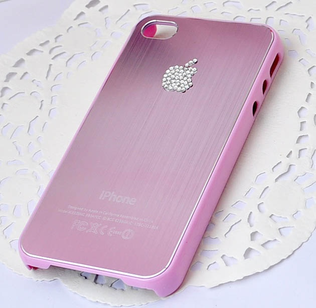 Crystal Apple Light Amethyst (pink) wire-drawing surface cell phone case for  iPhone4s or iphone 4 Free Shipping to USA. $12.90, via Etsy.
