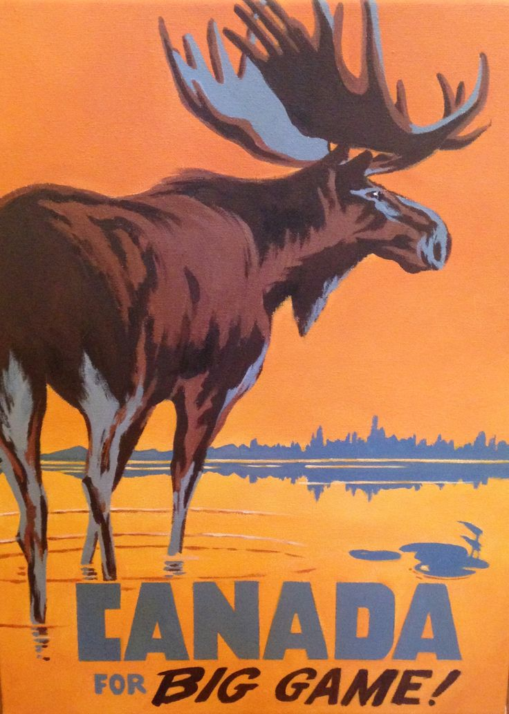 Canada travel poster. Custom canvas in a graphical style. www.customartbylisa.com