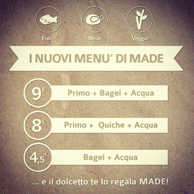 Ti aspettiamo a pranzo con i nostri nuovi menu!! #madeforlunch #pranzo #lunch #menu #vegetariano #streetfood #bagel #quiche #muffin #primi