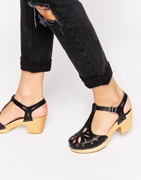 Swedish Hasbeens Black Lacy Mid Heel Sandals