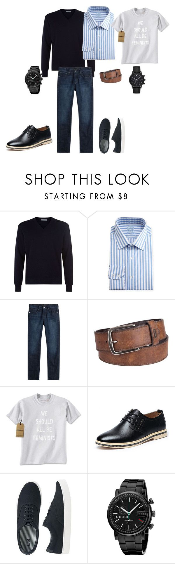"""#1 Мужской стиль - офис и smart casual"" by valery-k ❤ liked on Polyvore featuring malo, English Laundry, Baldessarini, Levi's, Uniqlo, Gucci, Emporio Armani, men's fashion and menswear"