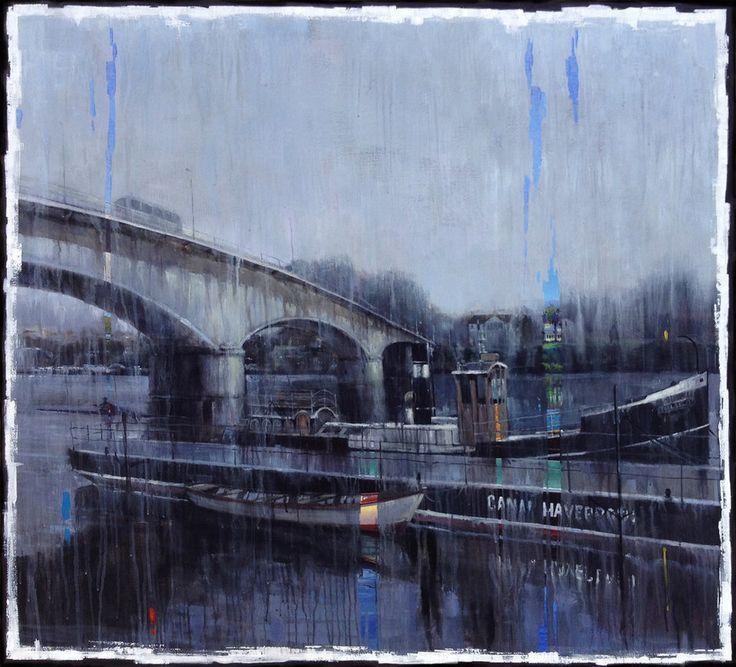 """""""Pintando bajo la lluvia""""   Valdivia y su Río 2018.  Acrílico sobre tela 110 x 100.  Edgardo Contreras de la Cruz"""