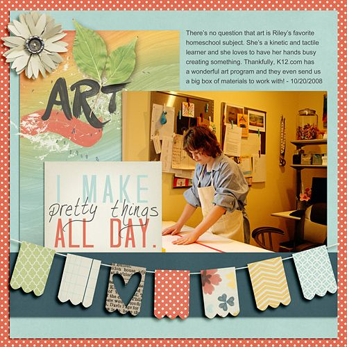 Layout by Katie. Supplies: Craftastic by Dream Big Designs; Striking (template) by Scrapbook Lady.