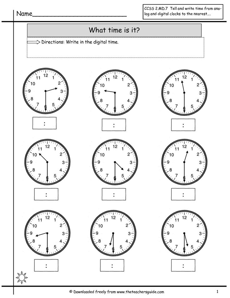 Time To The Half Hour Worksheets For First Grade Free Worksheets ...