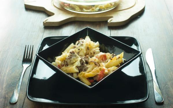 Oppskrift på Grateng med pasta og kjøttdeig