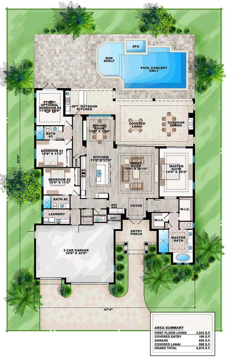 House design mediterranean style - Coastal Florida Mediterranean House Plan 75965 Level One