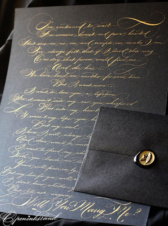 Custom Calligraphy poetry vows quote weddings proposal