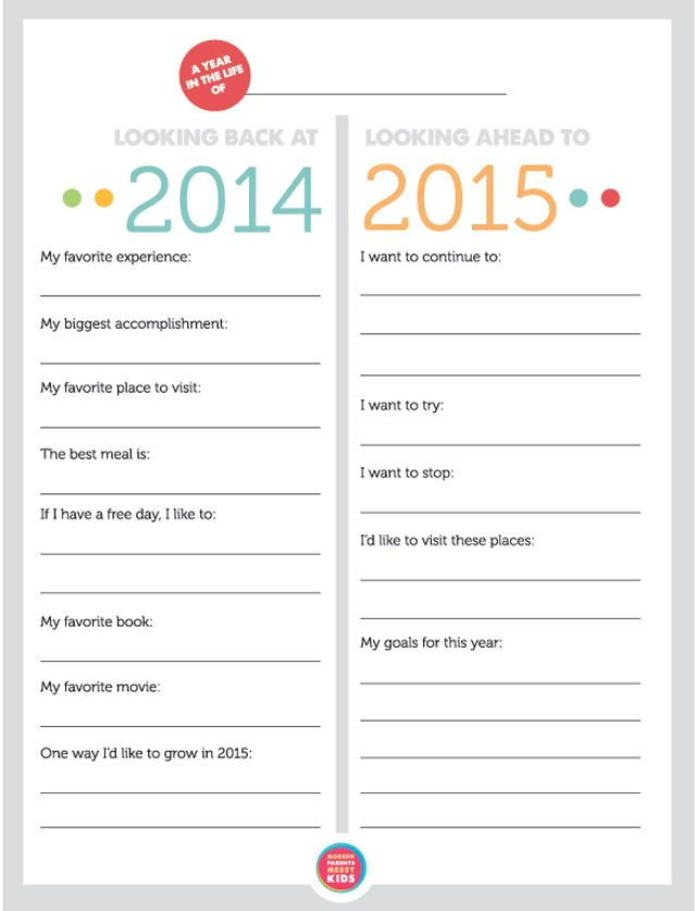 "Love this for helping the kids to look back on their year and make goals for the year ahead - the ""I want to try"" and ""I want to stop"" are our favorite categories."
