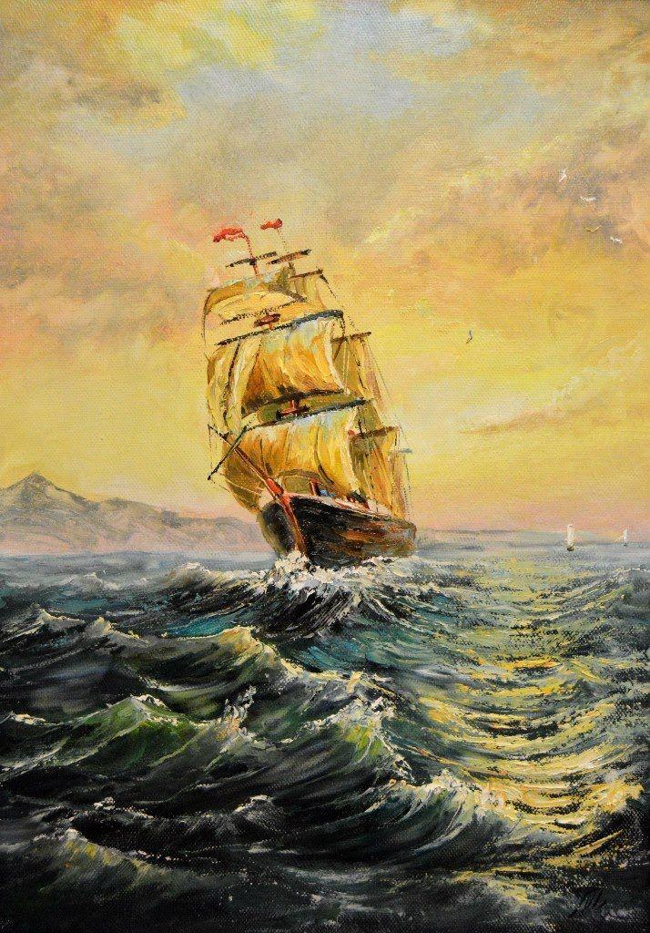 Корабль на закате. Мастер-класс по живописи маслом с Д.В. Ревякиным