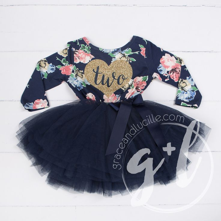 """Second Birthday Dress Gold Heart with """"TWO"""" on Navy Floral Long Sleeves"""