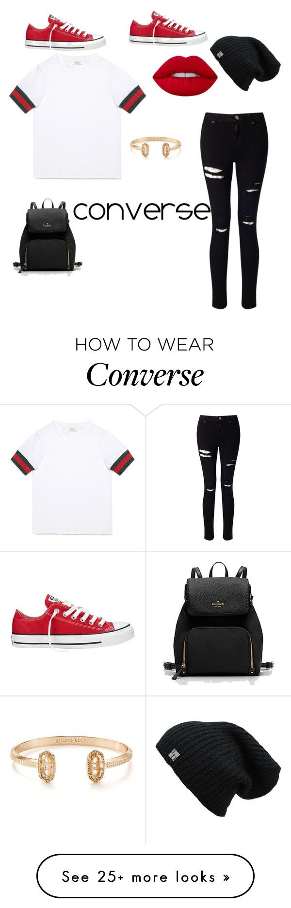 """converse"" by carrie-sullivan13 on Polyvore featuring Converse, Miss Selfridge, Gucci and Kendra Scott"