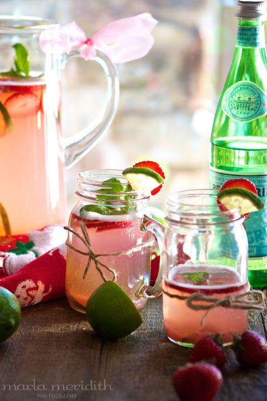 Skinny Strawberry Lime Punch {Cocktail or Alcohol-Free} | recipe on FamilyFreshCooking.com
