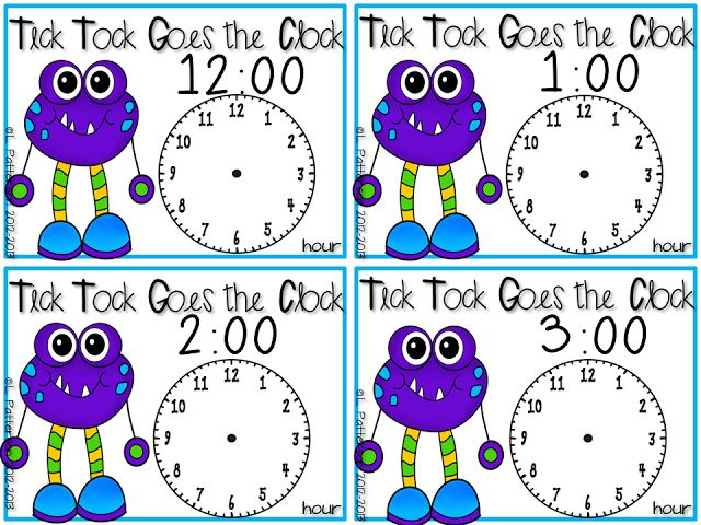 Pocket Full of Kinders!: Free telling time task cards