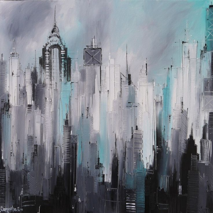 Manhattan by Irina Rumyantseva - The artist's own depiction of the Manhattan skyline in the heart of New York City. The artist really puts as much detail as possible, capturing it's unique and most famous architectural buildings and skyscrapers. Colours: Black and white with a shade of light blue.