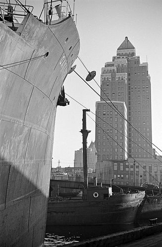 [View of the Marine Building from a dock] by City of Vancouver Archives, via Flickr