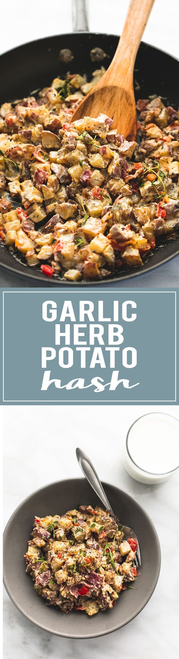 Garlic Herb Potato Hash made and served with real /milk/ is a healthy and delicious brunch! | http://lecremedelacrumb.com