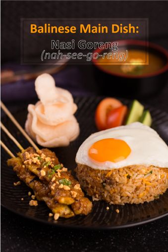 A traditional dish of Bali. Rice served with fried egg, vegetables and a choice of meat.