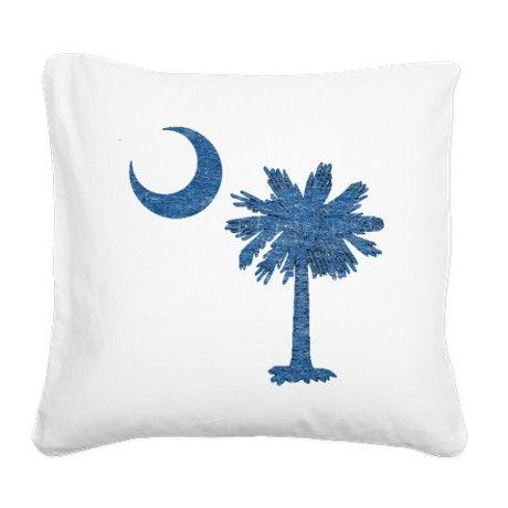 Vintage South Carolina Flag Square Canvas Pillow on CafePress.com
