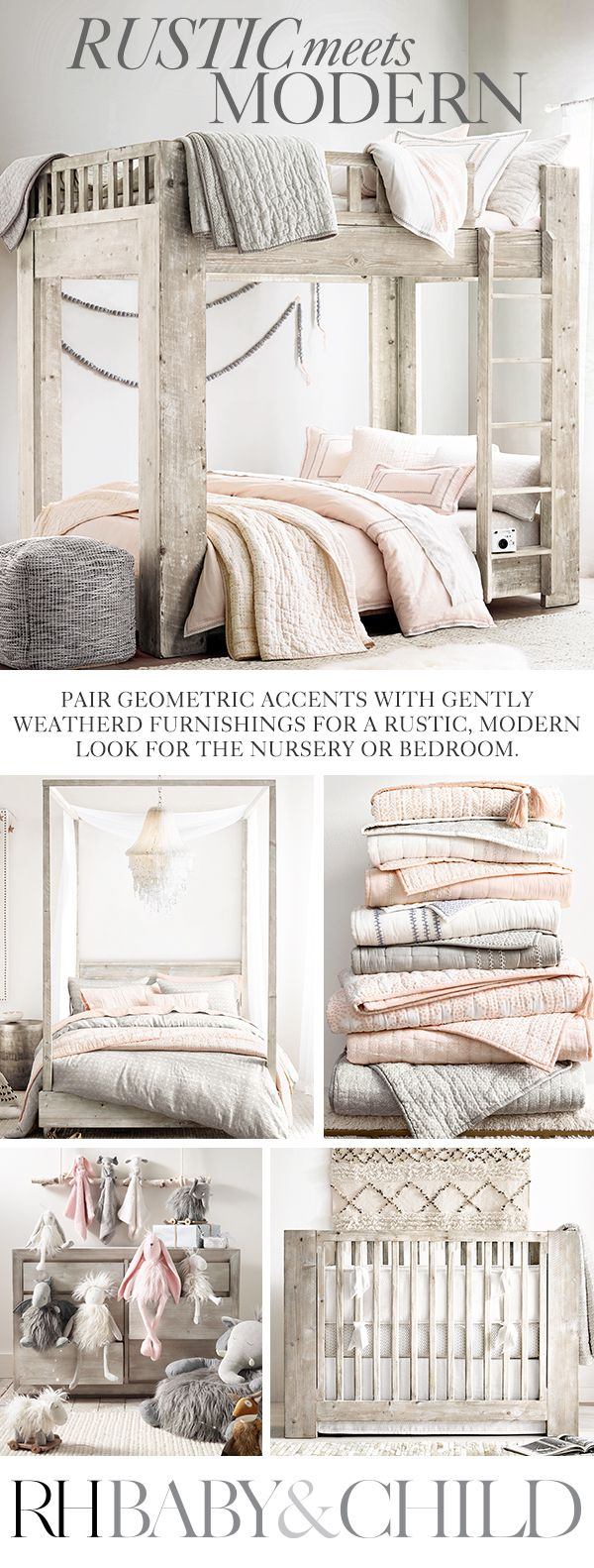 Natural materials, organic textures and muted tones add a relaxed note to clean-lined, modern designs. Shop this style at RH Baby & Child.