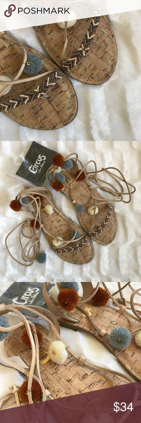 💎New Item💎 Valencia Sandals Strappy sandals with beaded toe strap and cute little pom-poms along the ankle lace ups. Valencia - circus by Sam Edelman. NIB. Comes with extra pom-poms. Circus by Sam Edelman Shoes Sandals