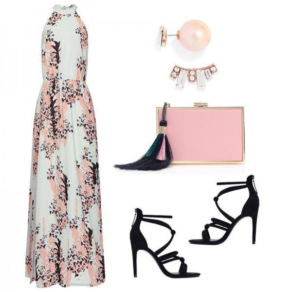 Arleta Floral Print-Maxi Dress, Reiss $425 Knotted High-Heel Sandals, Zara $60 Tassel Clutch, J. Crew $198 Rose Deco 360 Crawlers, BaubleBar $28