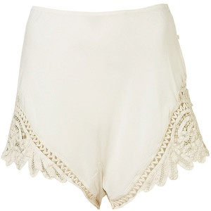 Topshop Silk Shorts with Embroidered Side Panels