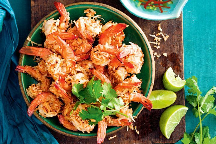 Coconut and peanut prawns