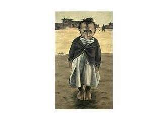 Neşet Günal: Çocuk figürü. Tuval uzerine yagliboya. 110×60 cm. Ozel koleksiyon