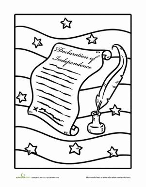 July 4th/Independence Day Preschool Holiday Life Learning Worksheets: Declaration of Independence, Coloring Page