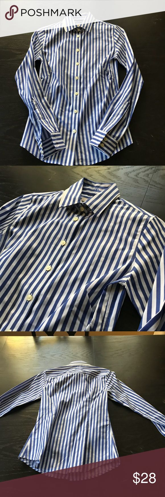 Banana Republic Non Iron Shirt New without tags, bold striped, non-iron button down. Collar shaper is still intact. I have two of these tops and I love the other one. These BR non iron tops are fantastic for work and for layering. Very versatile. Banana Republic Tops Button Down Shirts