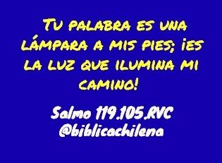 Tu palabra es una lámpara a mis pies; ¡es la luz que ilumina mi camino! Salmo.119.105.RVC