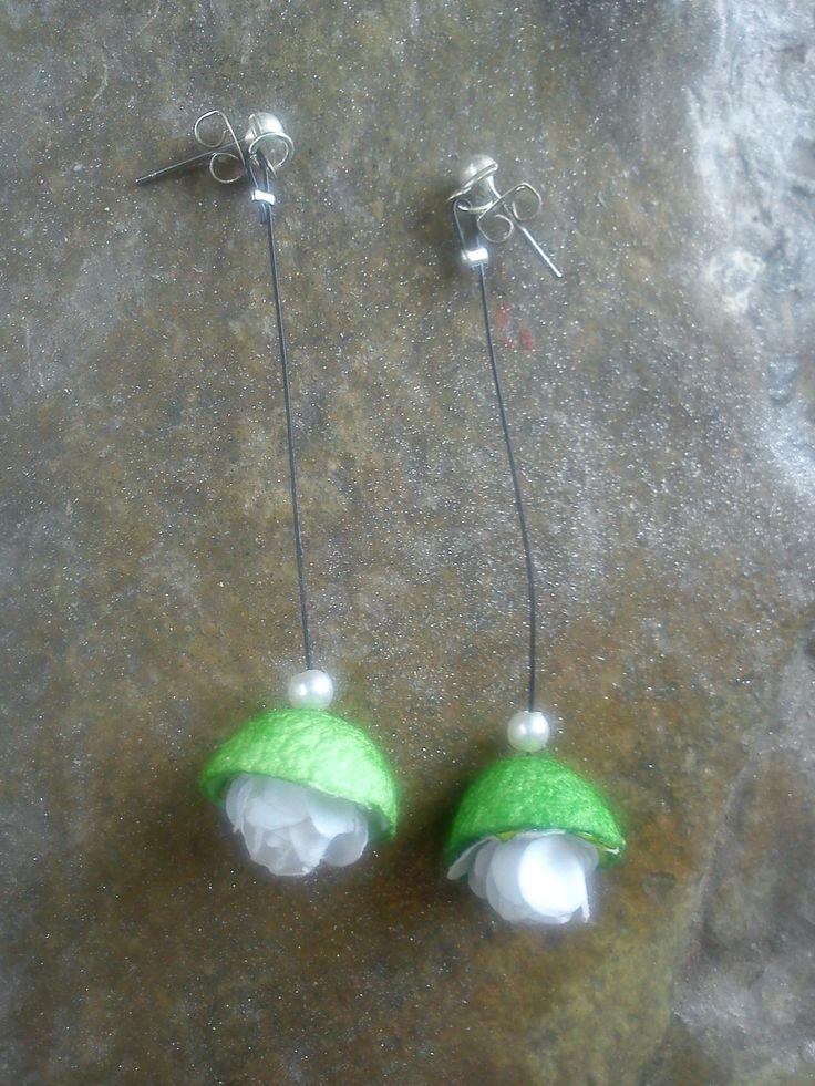 handmade silk cocoons earrings No66