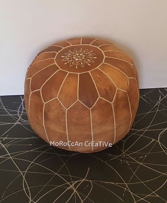 Set of 2 Light Tan Moroccan PouffeS ,Moroccan Leather PoufS , Foot Stool, Hand-stitched Pouf, Ottoman,Foot-rest