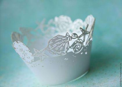 Праздничная атрибутика ручной работы. Ярмарка Мастеров - ручная работа. Купить Украшения для кексов - морские. Handmade. Белый, морская тема