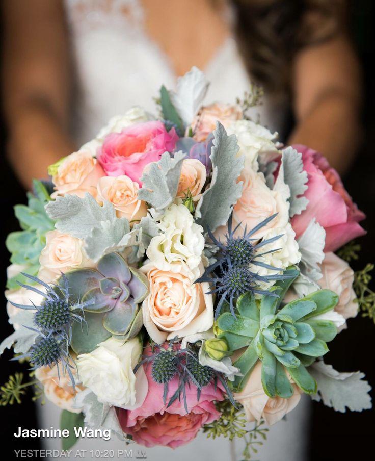 Brides bouquet  Succulents, peach garden roses, thistle, seeded eucalyptus, cream spray roses, and dusty miller