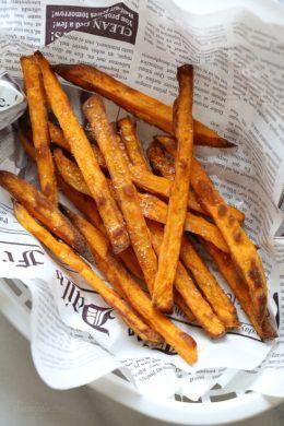 Crispy Air Fryer Sweet Potato Fries—coat sweet potatoes in tapioca flour before olive oil